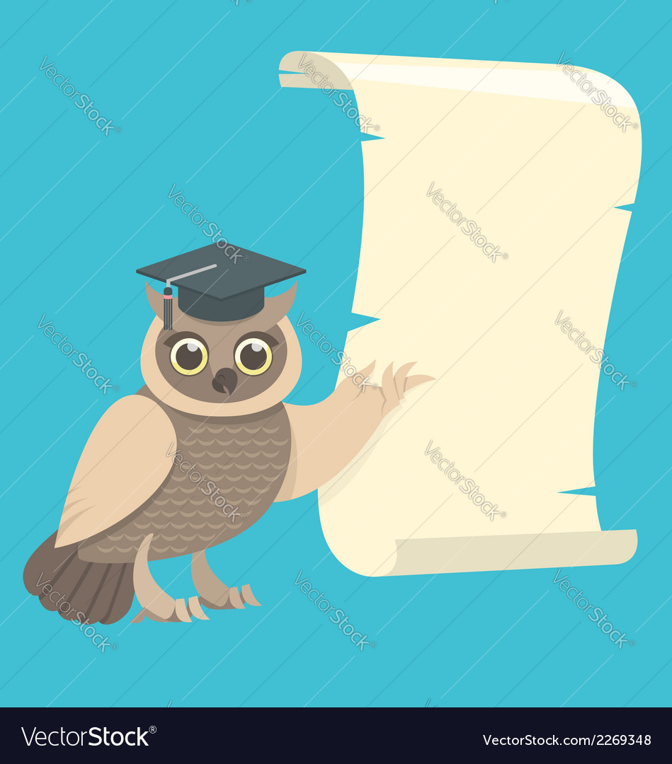 Wise owl with a scroll vector | Price: 1 Credit (USD $1)