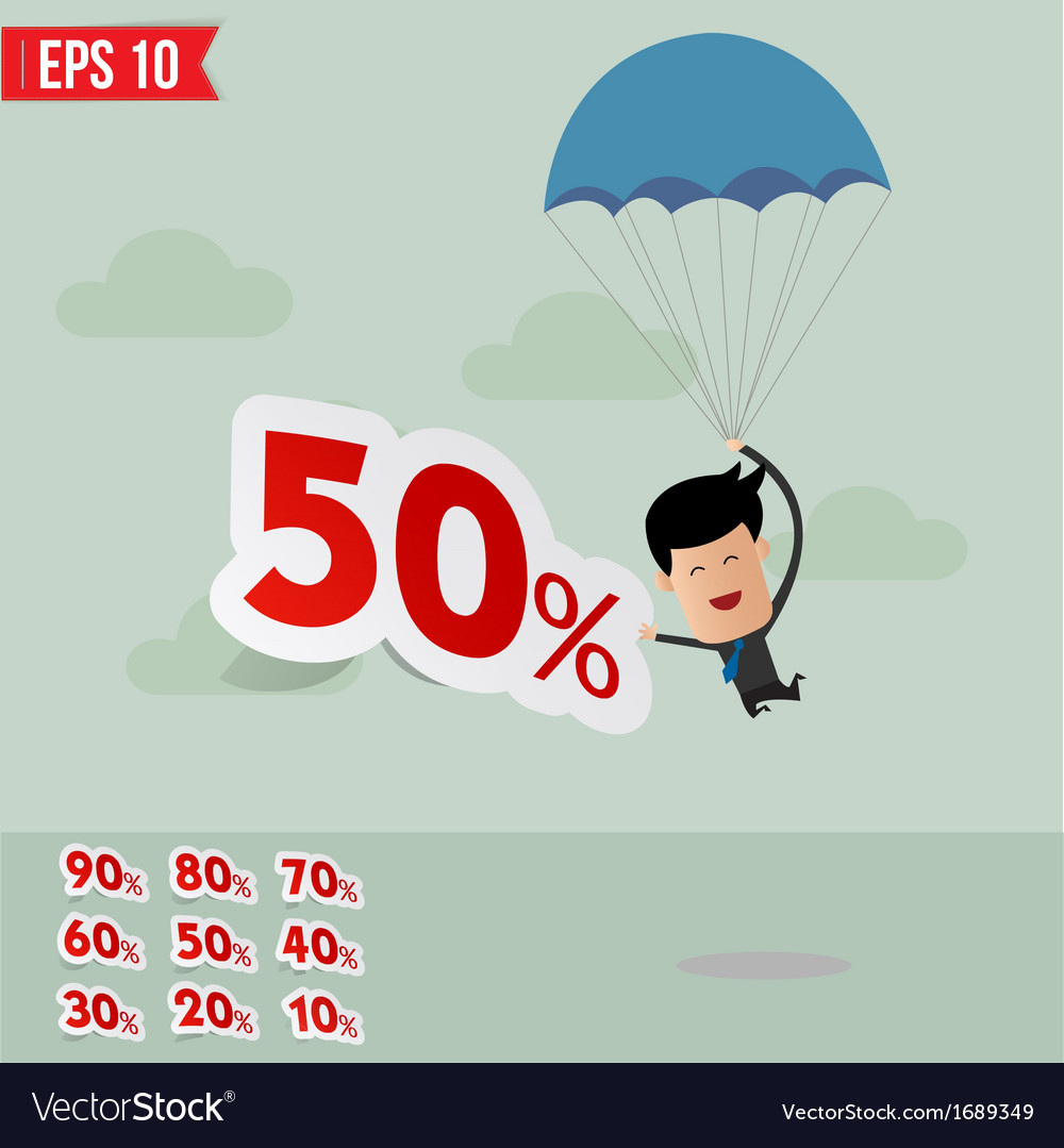 Business man drop down with parachute and percent vector | Price: 1 Credit (USD $1)