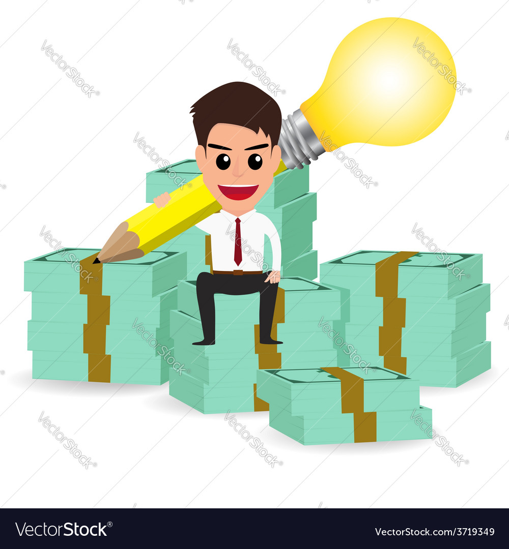 Businessman handle pencil lightbulb and sitting on vector | Price: 1 Credit (USD $1)