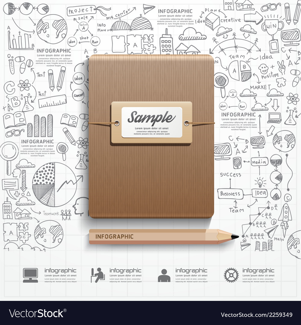 Infographic book with doodles line drawing success vector | Price: 1 Credit (USD $1)