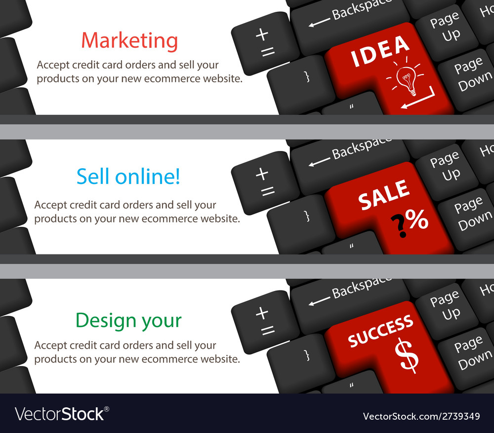 Keyboard for idea sale success banner vector | Price: 1 Credit (USD $1)