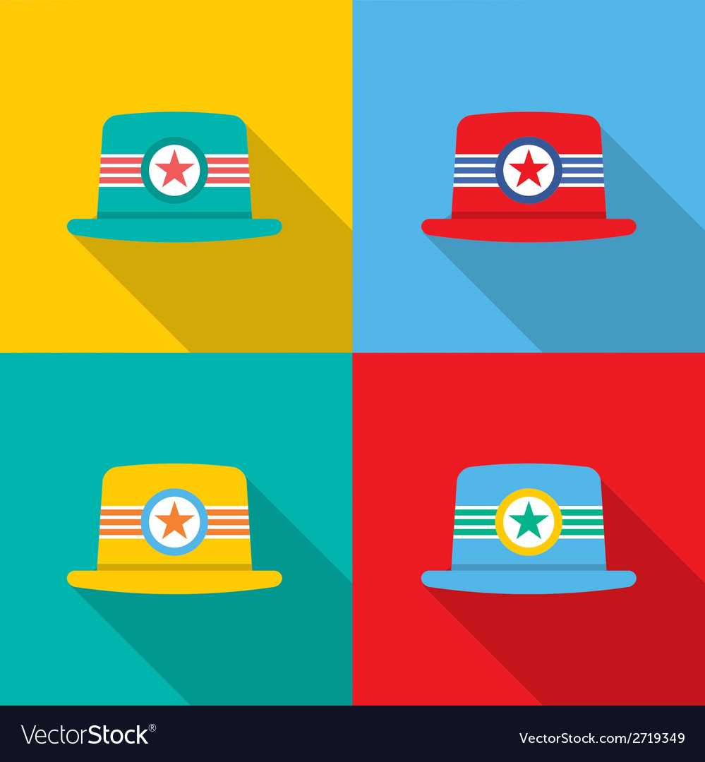 Set of hats on colorful background vector | Price: 1 Credit (USD $1)