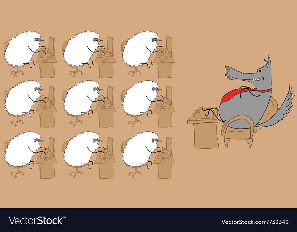 Sheep flock working vector | Price: 1 Credit (USD $1)