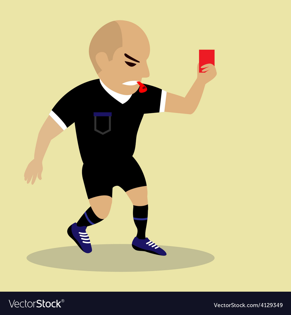 Soccer referee giving red card vector | Price: 1 Credit (USD $1)