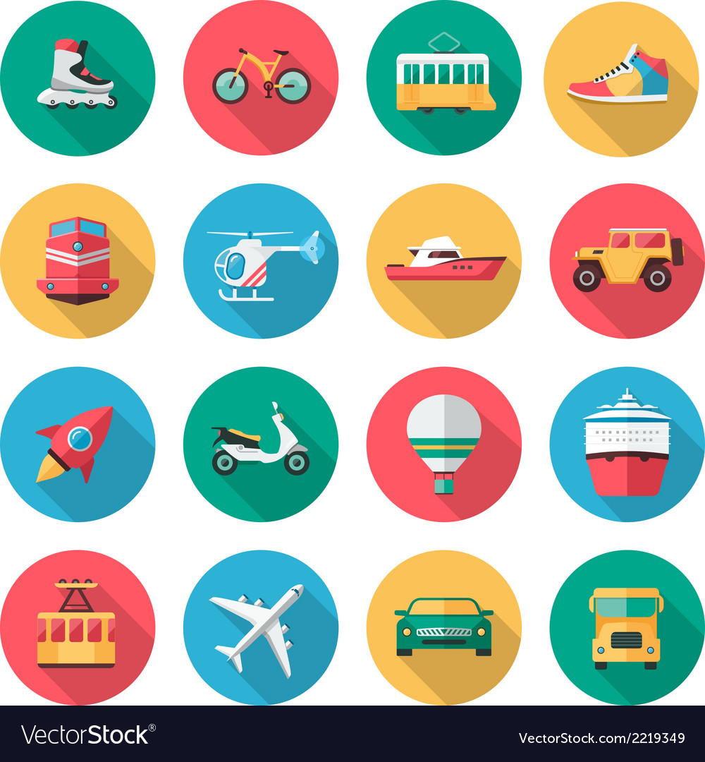 Transport icons in flat style with long shadow vector | Price: 1 Credit (USD $1)