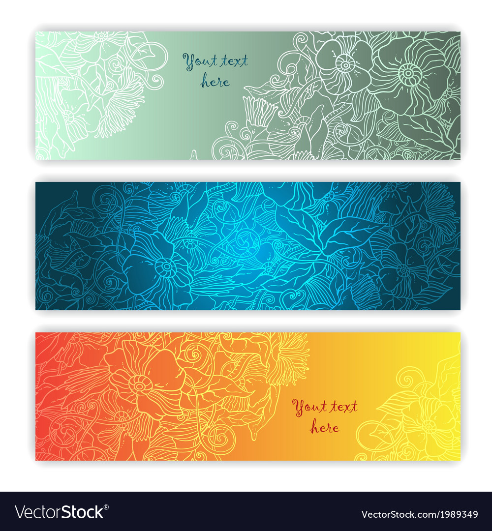 Unique pattern card set with art flowers series of vector | Price: 1 Credit (USD $1)