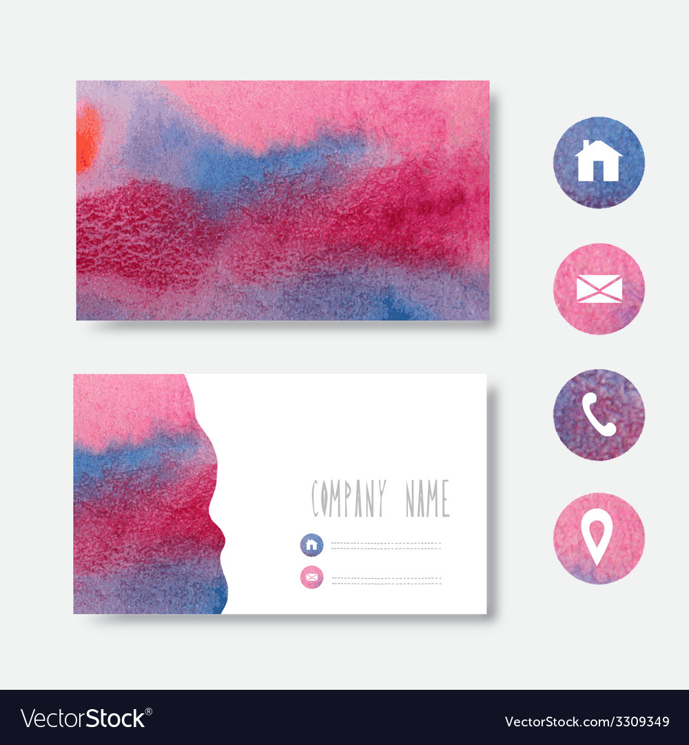 Watercolor businee card vector | Price: 1 Credit (USD $1)