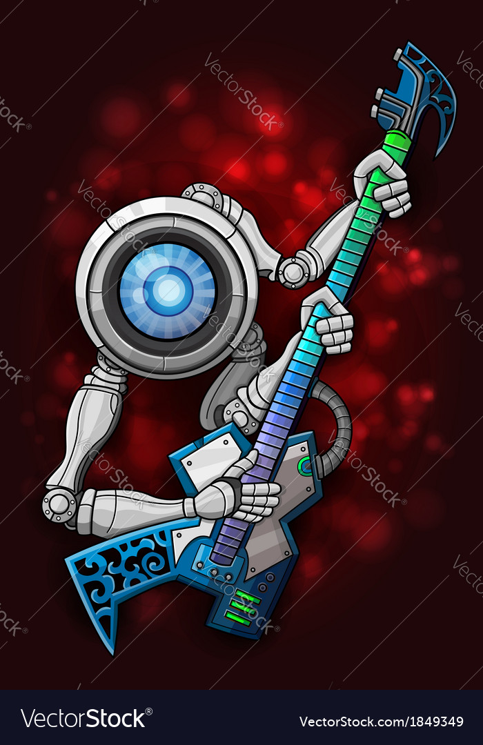White robot with guitar vector | Price: 1 Credit (USD $1)