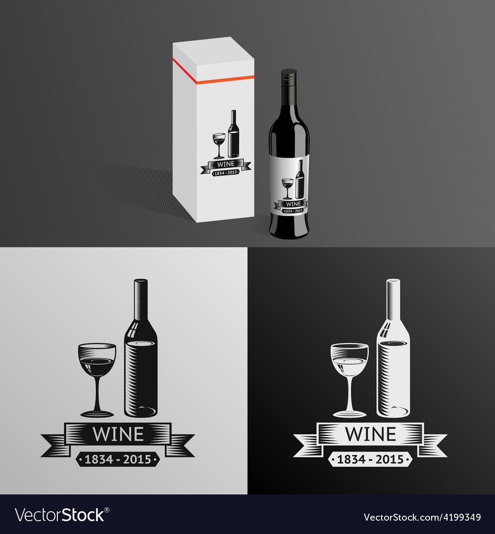 Wine alcohol drink logo symbol bottle glass vector | Price: 1 Credit (USD $1)