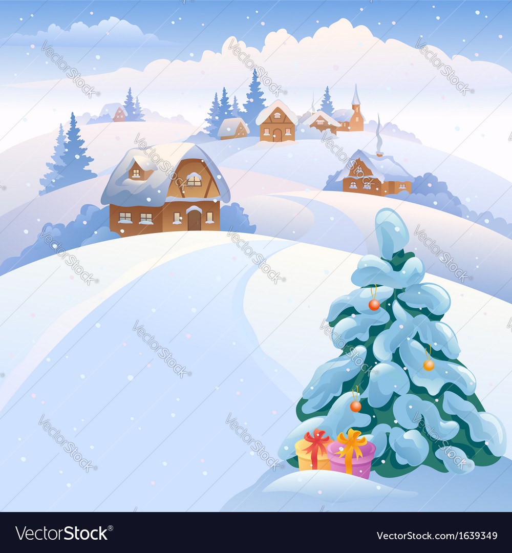 Winter village on the hills vector | Price: 3 Credit (USD $3)