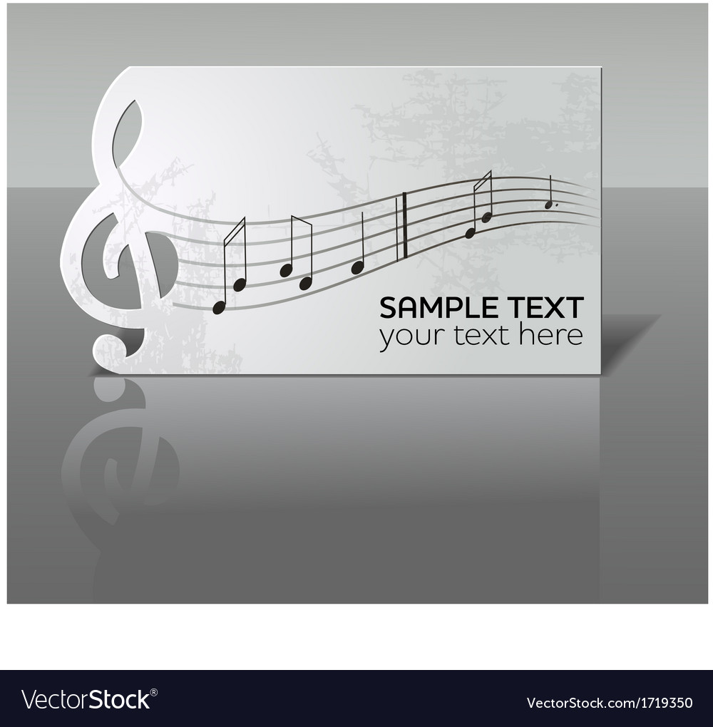 Card with notes and treble clef vector | Price: 1 Credit (USD $1)