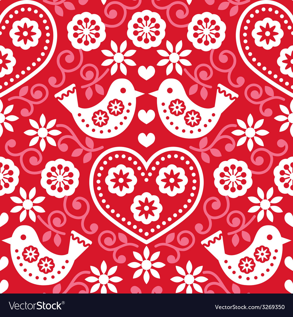 Folk art red seamless pattern with birds vector | Price: 1 Credit (USD $1)