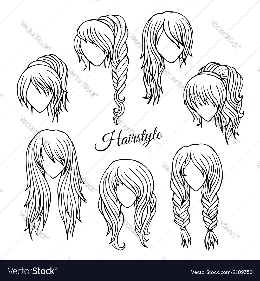 Hair styles sketch set vector | Price: 1 Credit (USD $1)