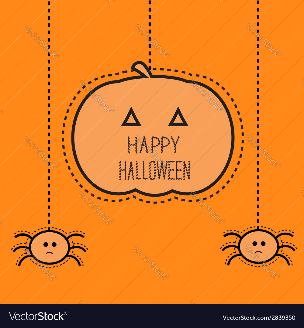 Halloween card with hanging pumpkin and two spider vector | Price: 1 Credit (USD $1)