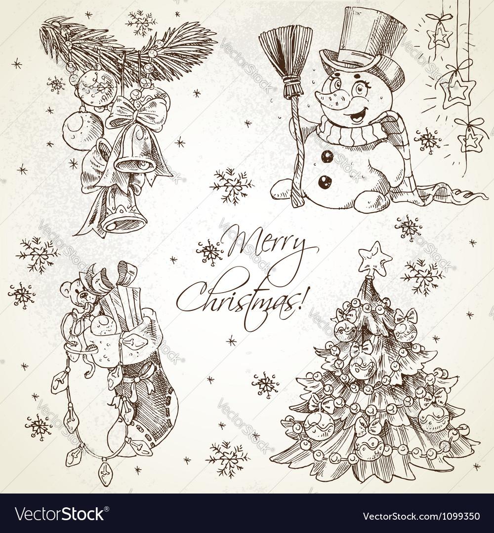Merry christmas vintage sketch draw set vector | Price: 1 Credit (USD $1)