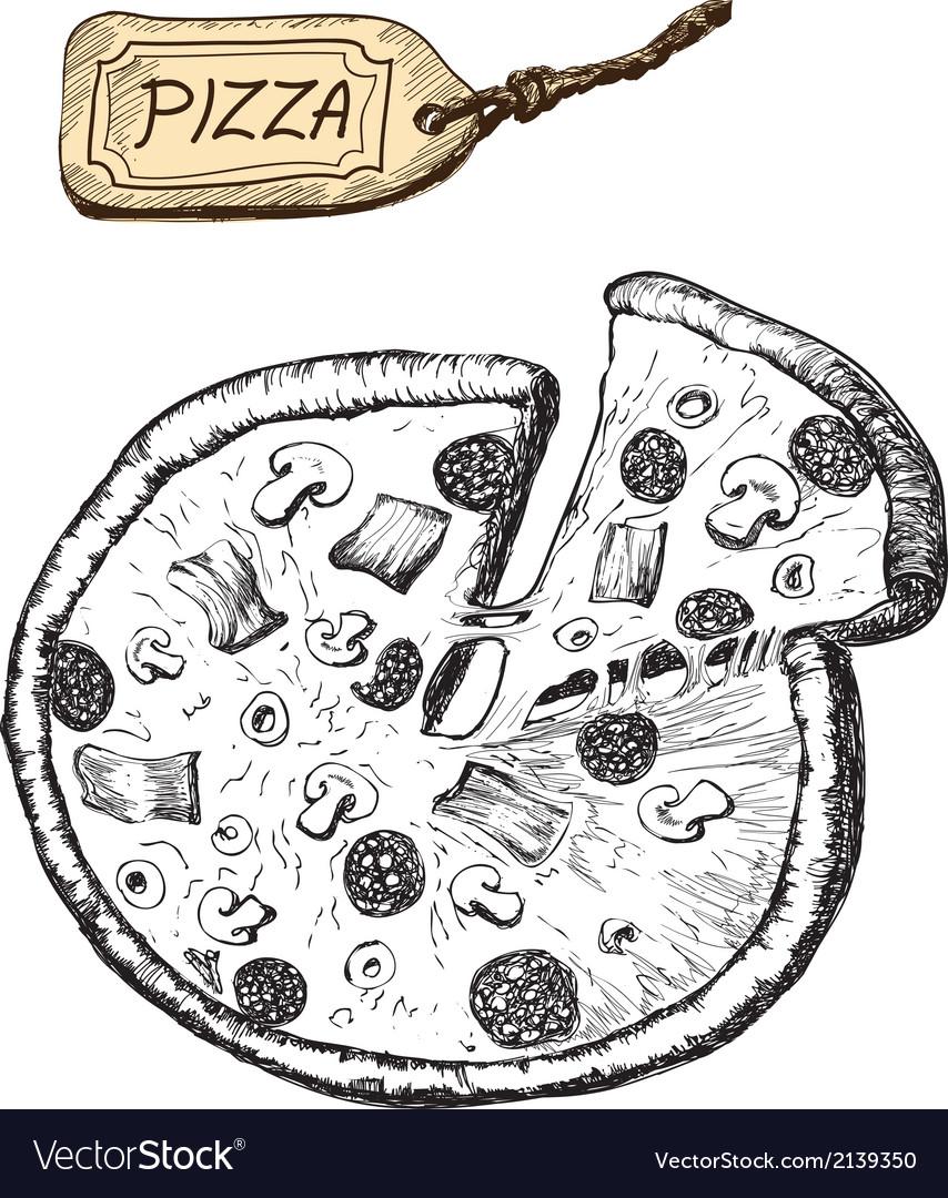 Pizza hand drawn vector | Price: 1 Credit (USD $1)