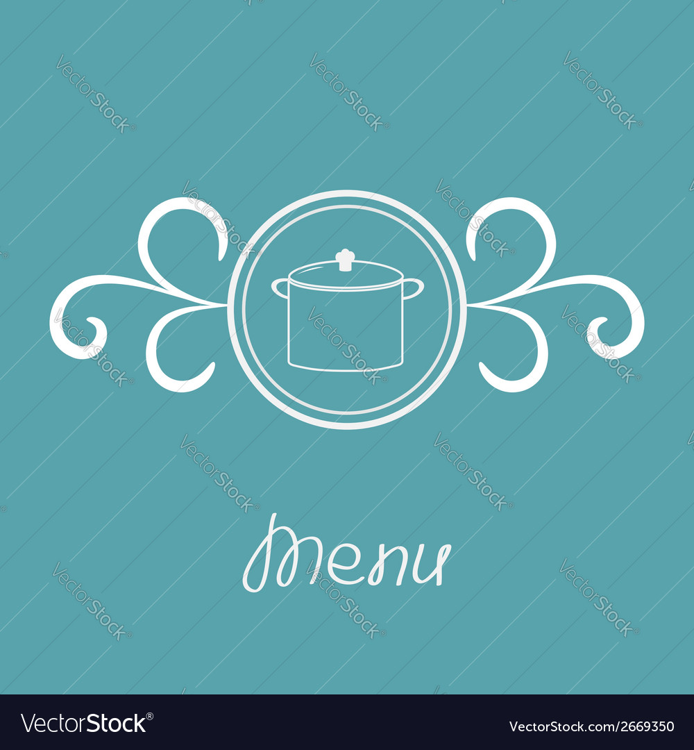 Saucepan contour and round frame vector | Price: 1 Credit (USD $1)