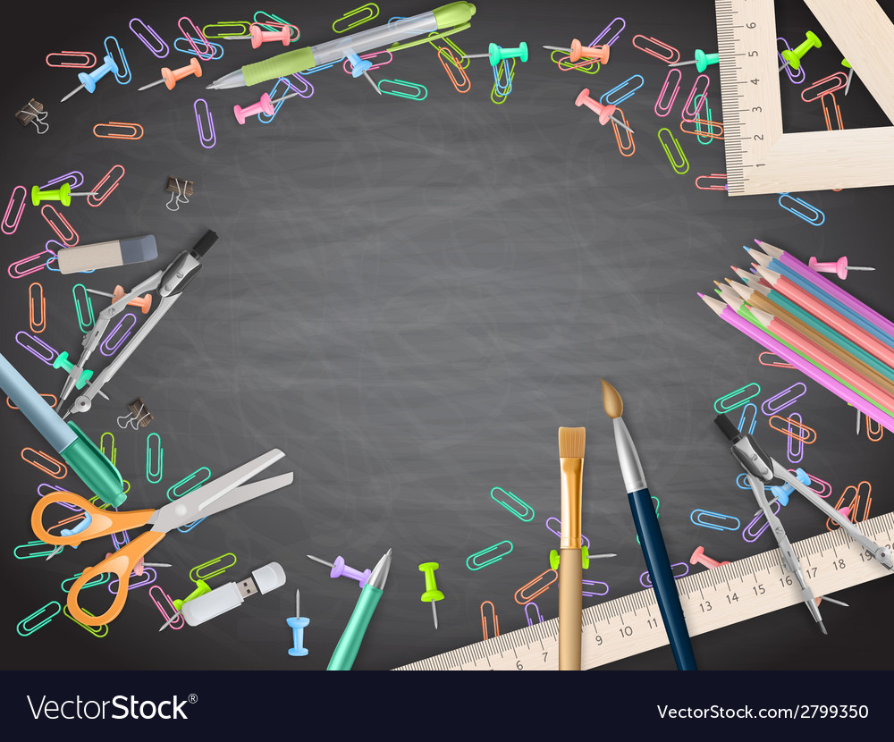 School supplies on blackboard background eps 10 vector | Price: 1 Credit (USD $1)
