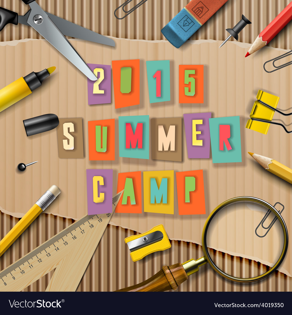 Summer camp themed poster vector | Price: 3 Credit (USD $3)