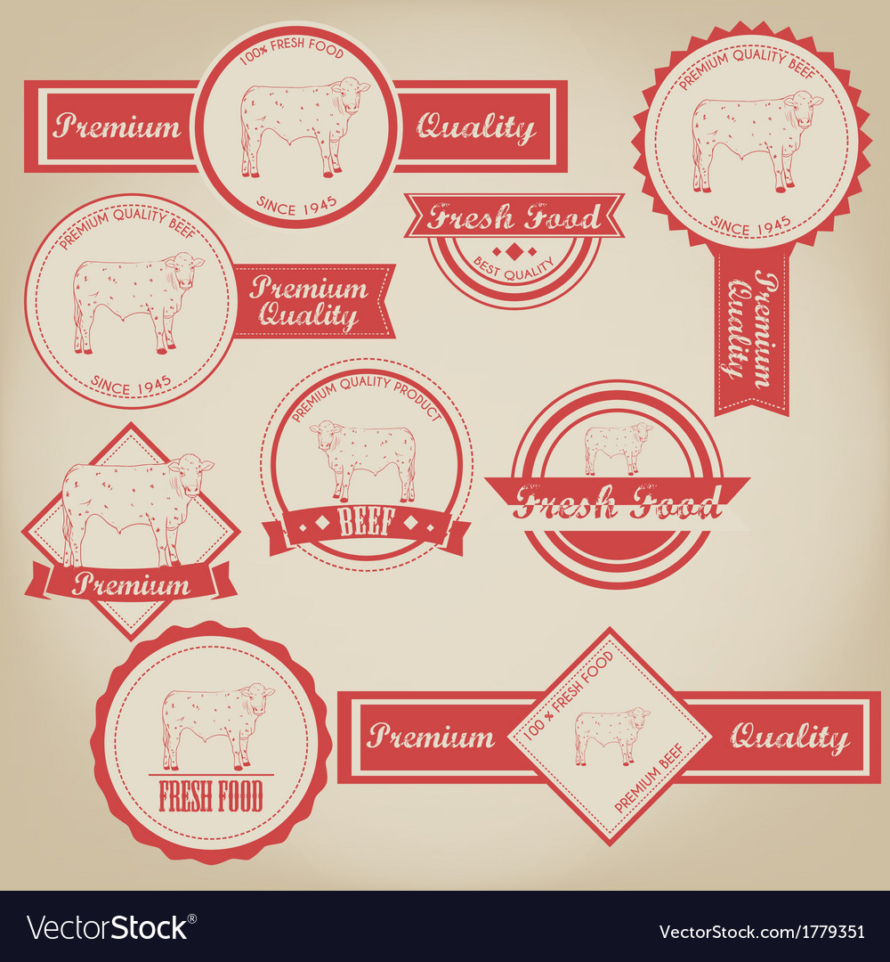 Beef vintage label vector | Price: 1 Credit (USD $1)