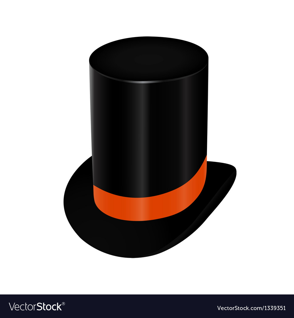 Black top hat with orange ribbon vector | Price: 1 Credit (USD $1)