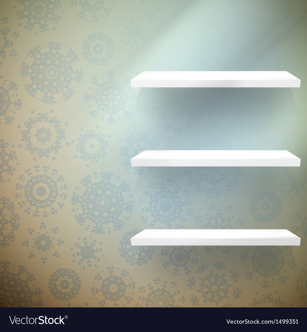 Christmas room with a shelfs and blue wall eps 10 vector | Price: 1 Credit (USD $1)