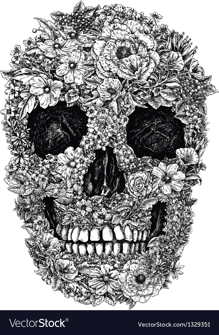 Flower skull linework vector | Price: 3 Credit (USD $3)