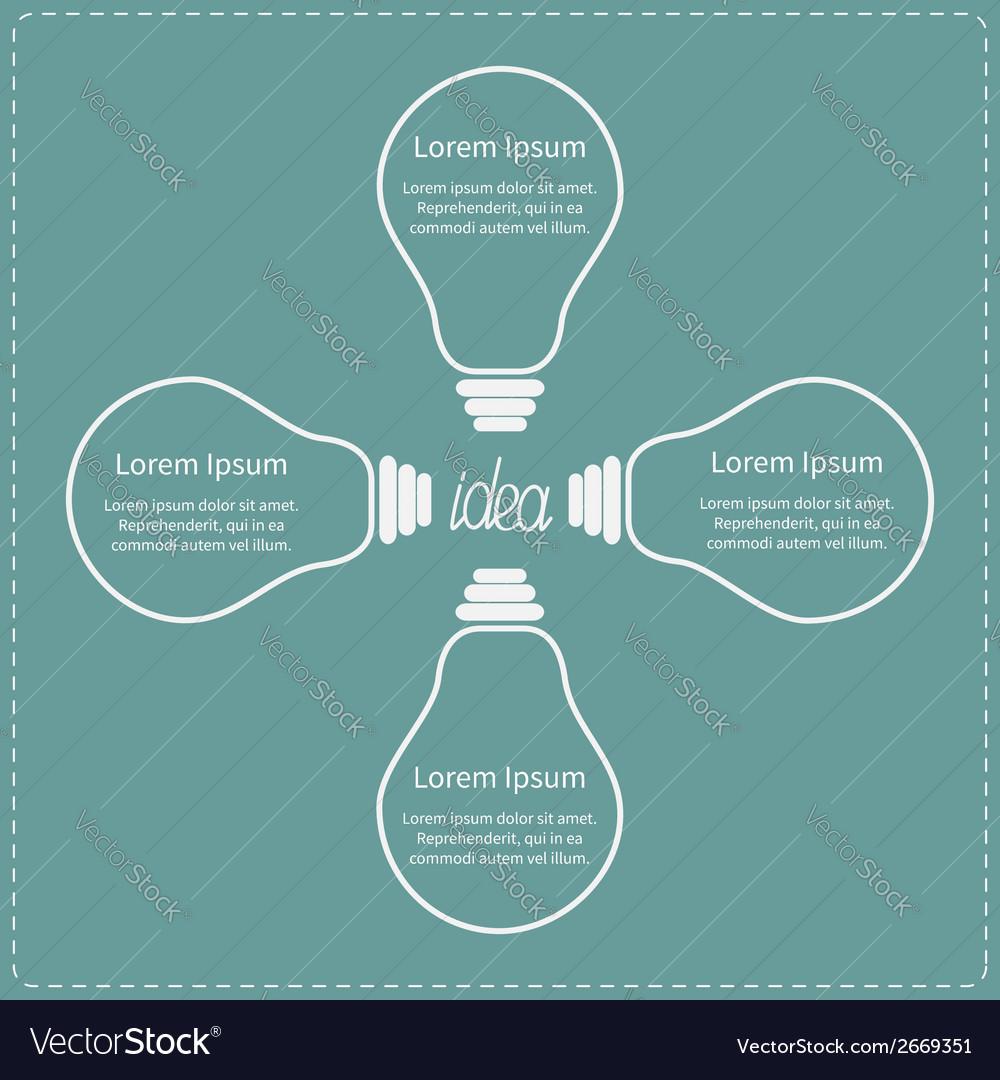 Four contour big light bulb idea concept business vector | Price: 1 Credit (USD $1)