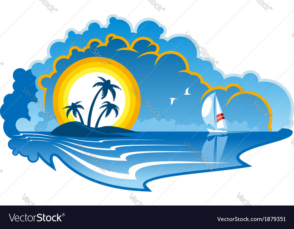 Idyllic tropical island with a yacht vector | Price: 1 Credit (USD $1)