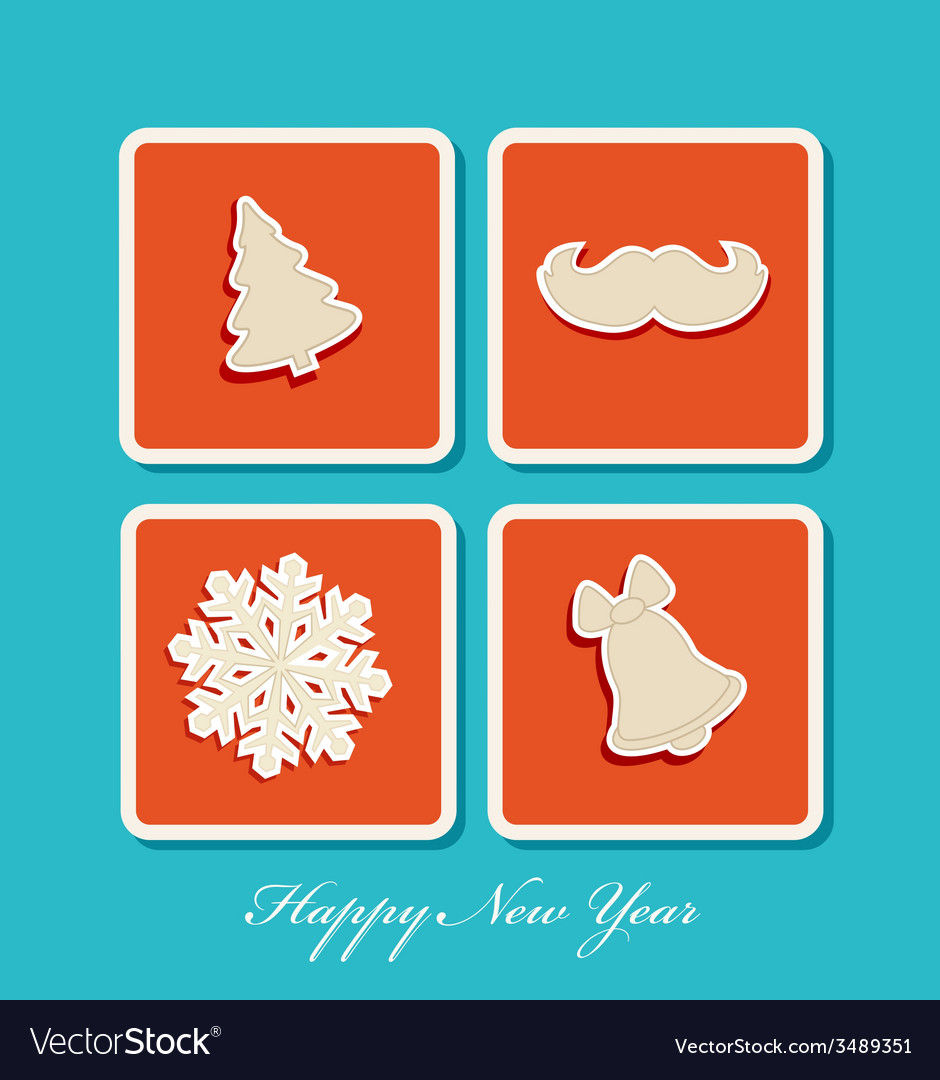 New year holiday christmas icons vector | Price: 1 Credit (USD $1)