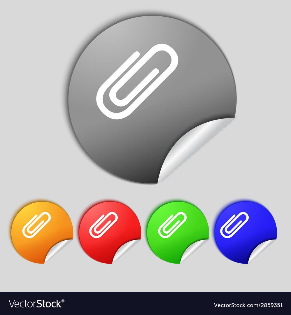 Paper clip sign icon clip symbol set colourful vector | Price: 1 Credit (USD $1)