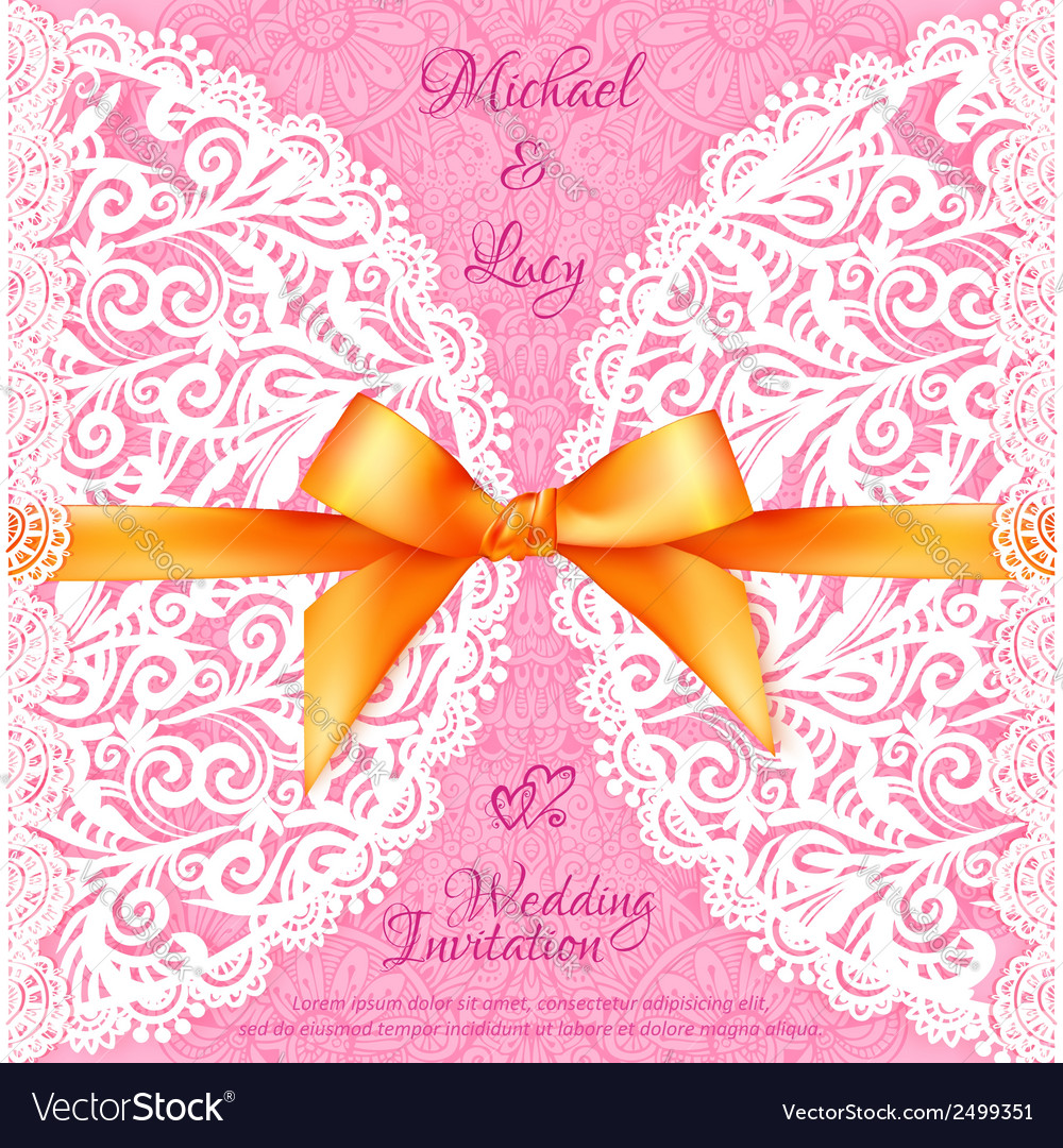 Pink lacy wedding card with orange silky bow vector | Price: 1 Credit (USD $1)