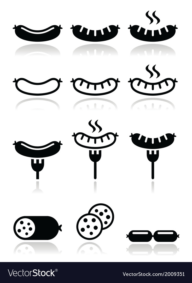 Sausage grilled or with for icons set vector