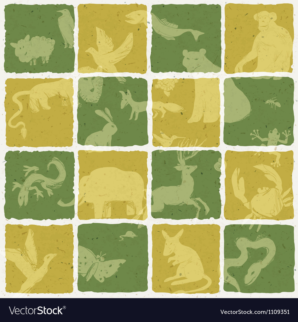 Seamless zoo themed pattern vector | Price: 1 Credit (USD $1)