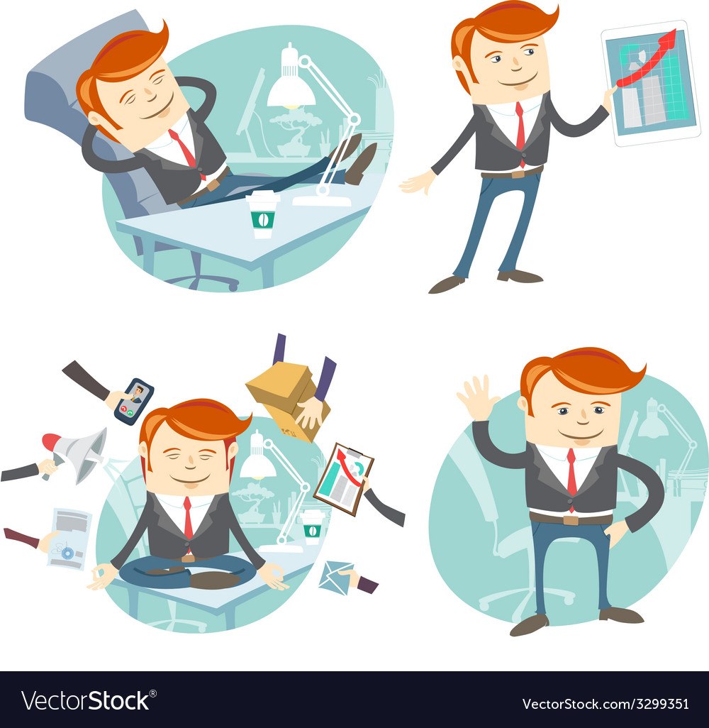 Set of hipster officeman lazy worker foot o vector   Price: 1 Credit (USD $1)
