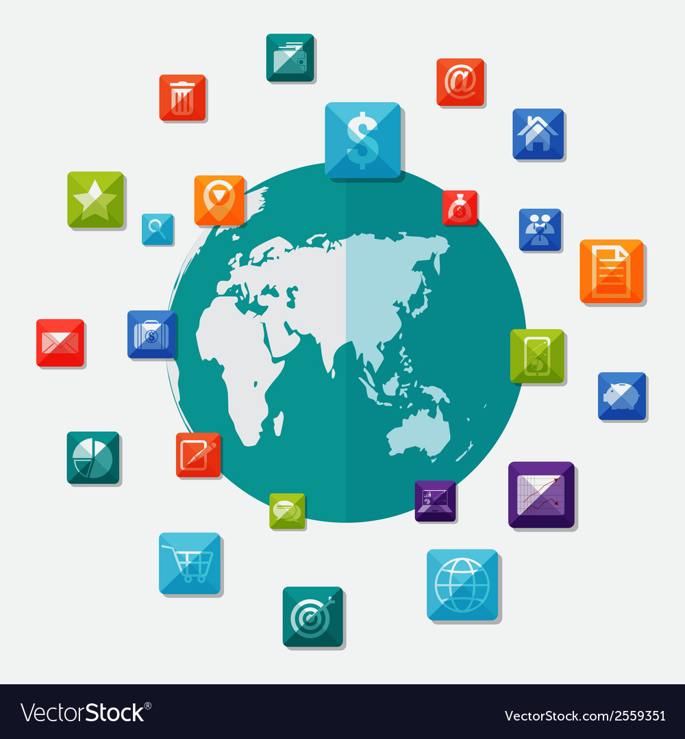 Social media icons on world globe vector | Price: 1 Credit (USD $1)