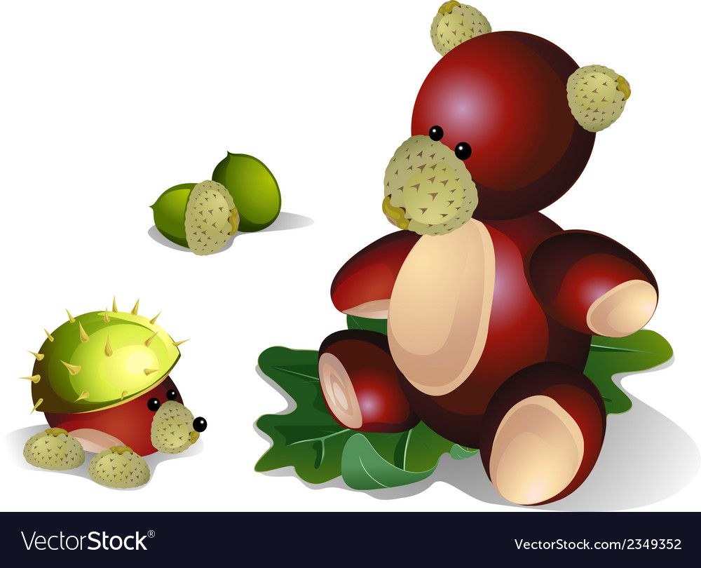 Bear and hedgehog made from chestnuts vector | Price: 1 Credit (USD $1)