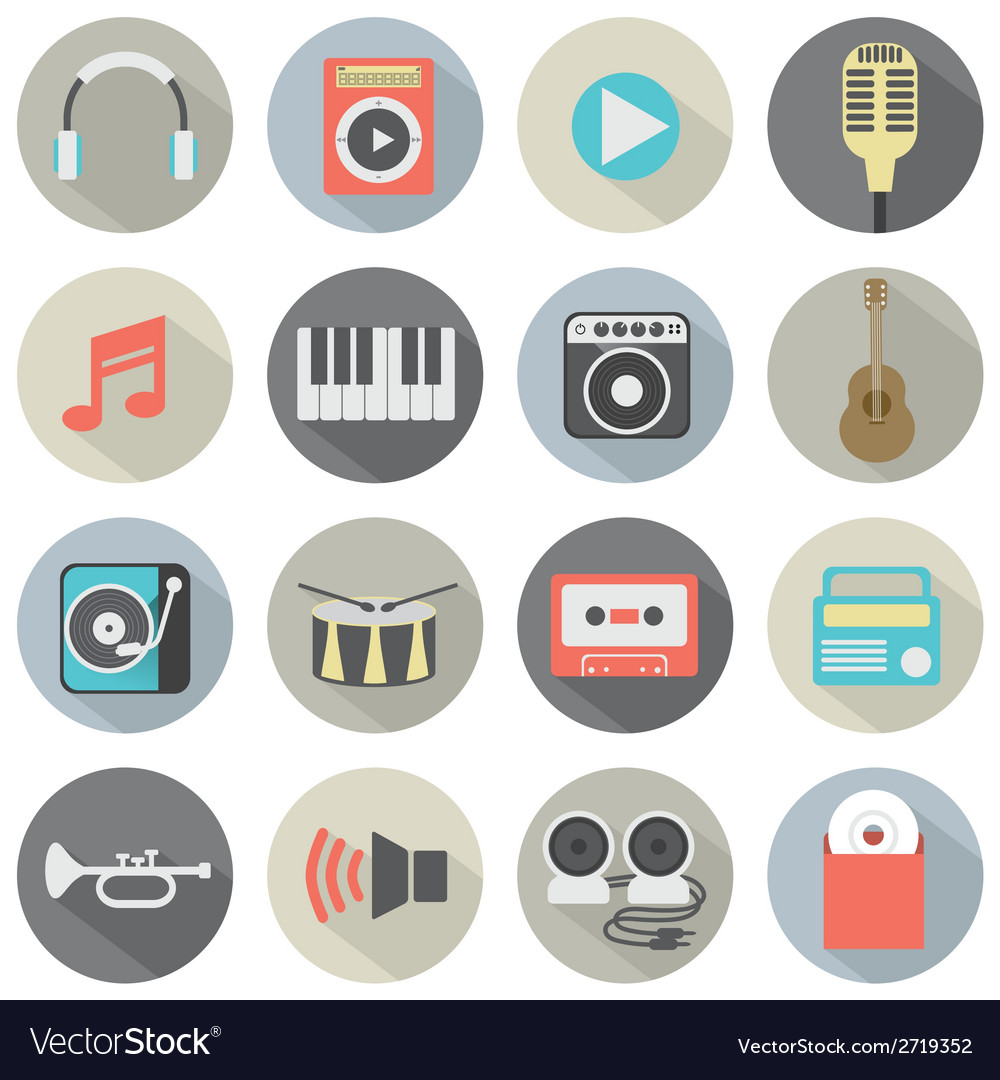 Flat design musical icons vector | Price: 1 Credit (USD $1)