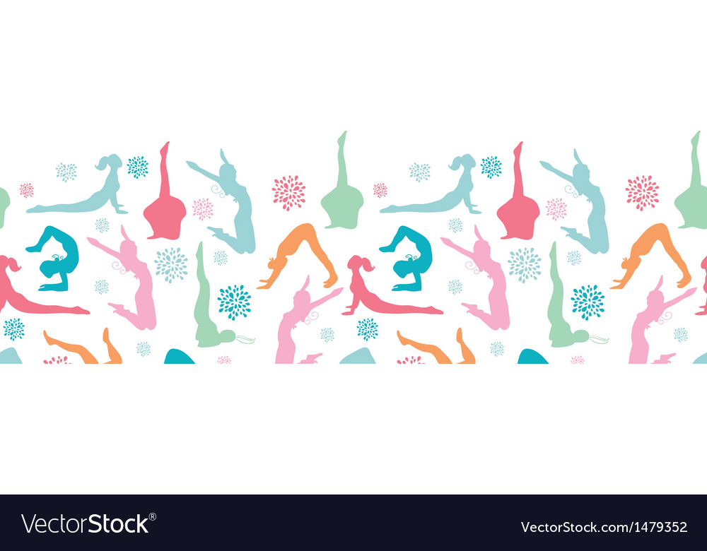 Fun workout fitness girls horizontal seamless vector   Price: 1 Credit (USD $1)