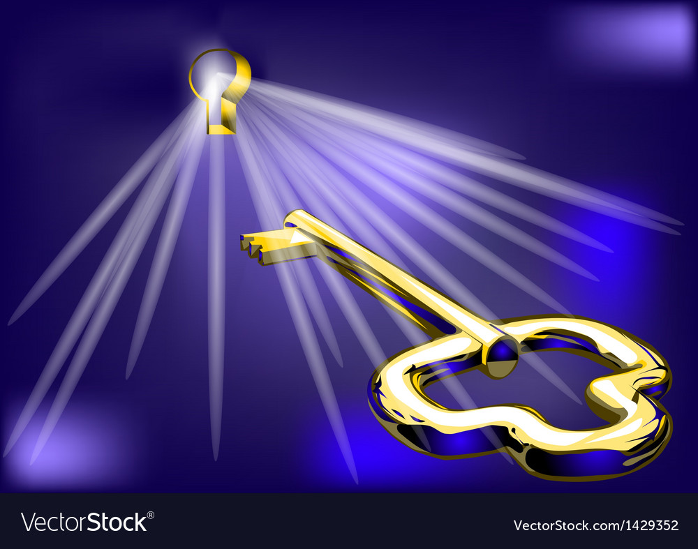 Golden key and lock vector | Price: 1 Credit (USD $1)