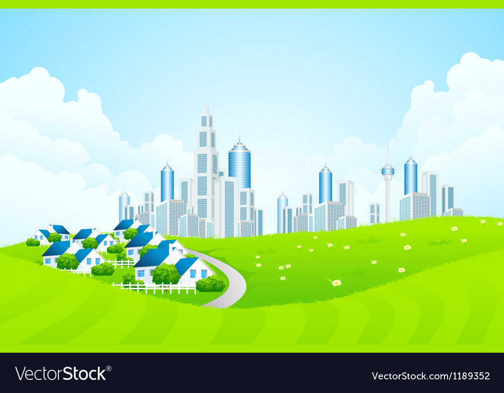 Green landscape with city line and cottage village vector | Price: 1 Credit (USD $1)