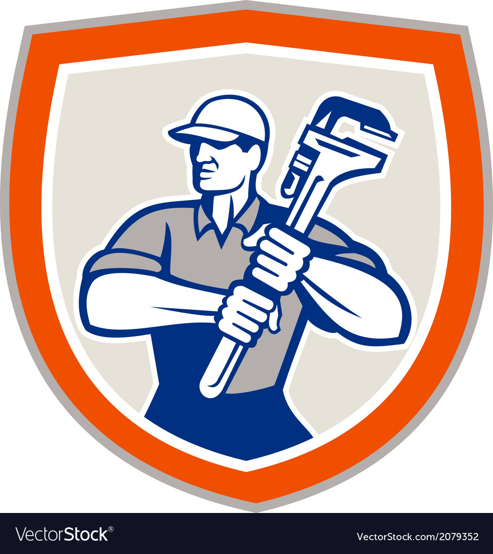 Plumber holding giant monkey wrench shield vector | Price: 1 Credit (USD $1)