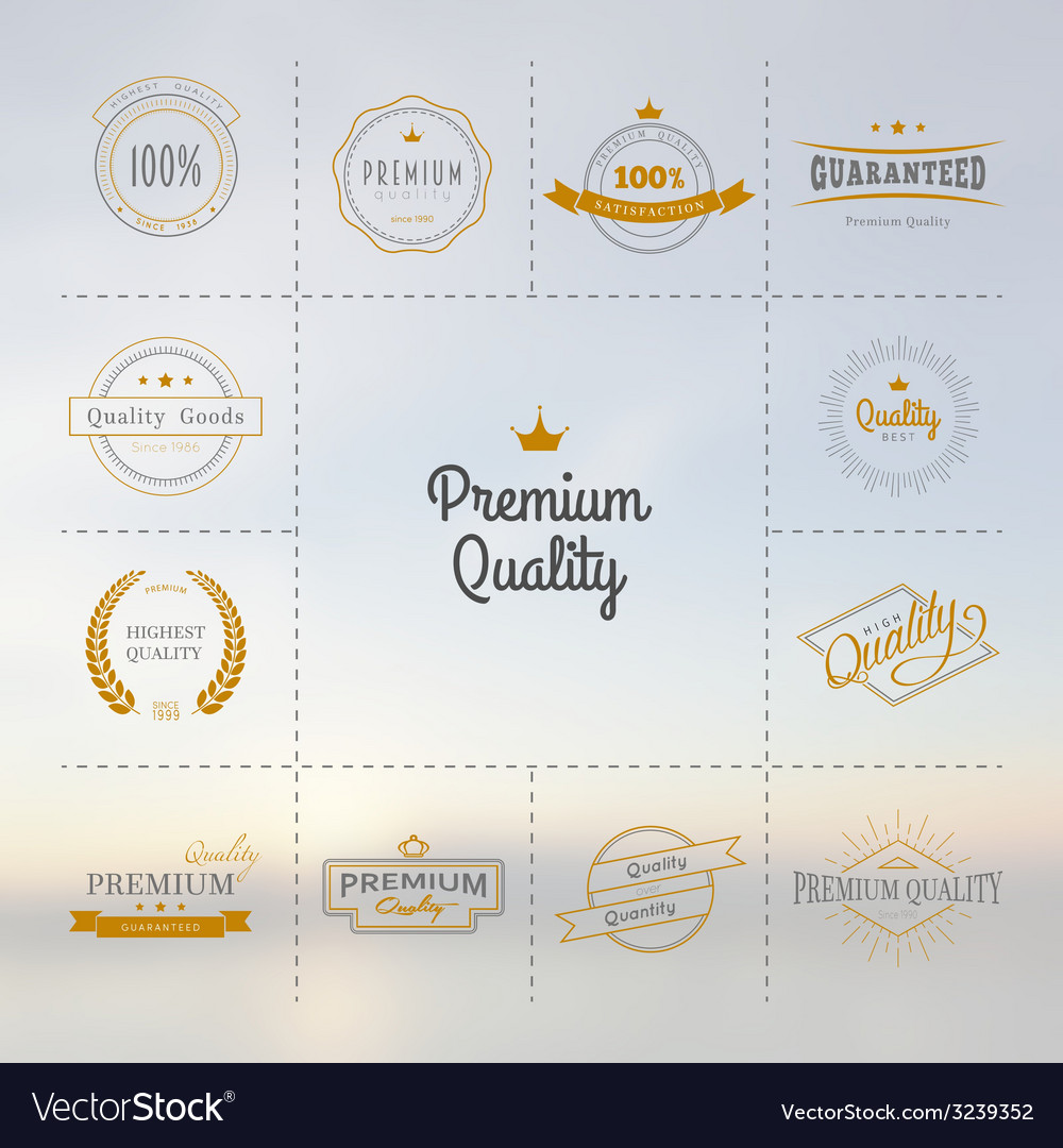Premium quality labels set vector | Price: 1 Credit (USD $1)