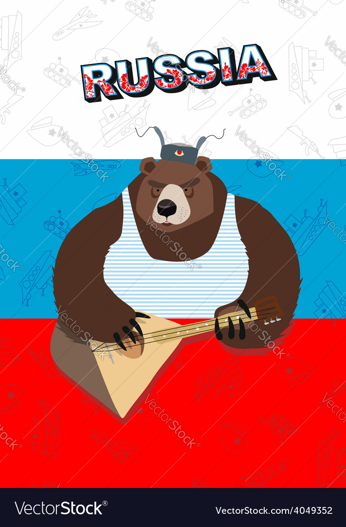 Russian bear plays a musical instrument the flag vector | Price: 1 Credit (USD $1)