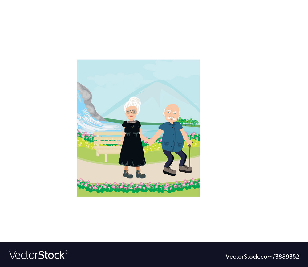 Senior couple walking in sunny day vector | Price: 1 Credit (USD $1)