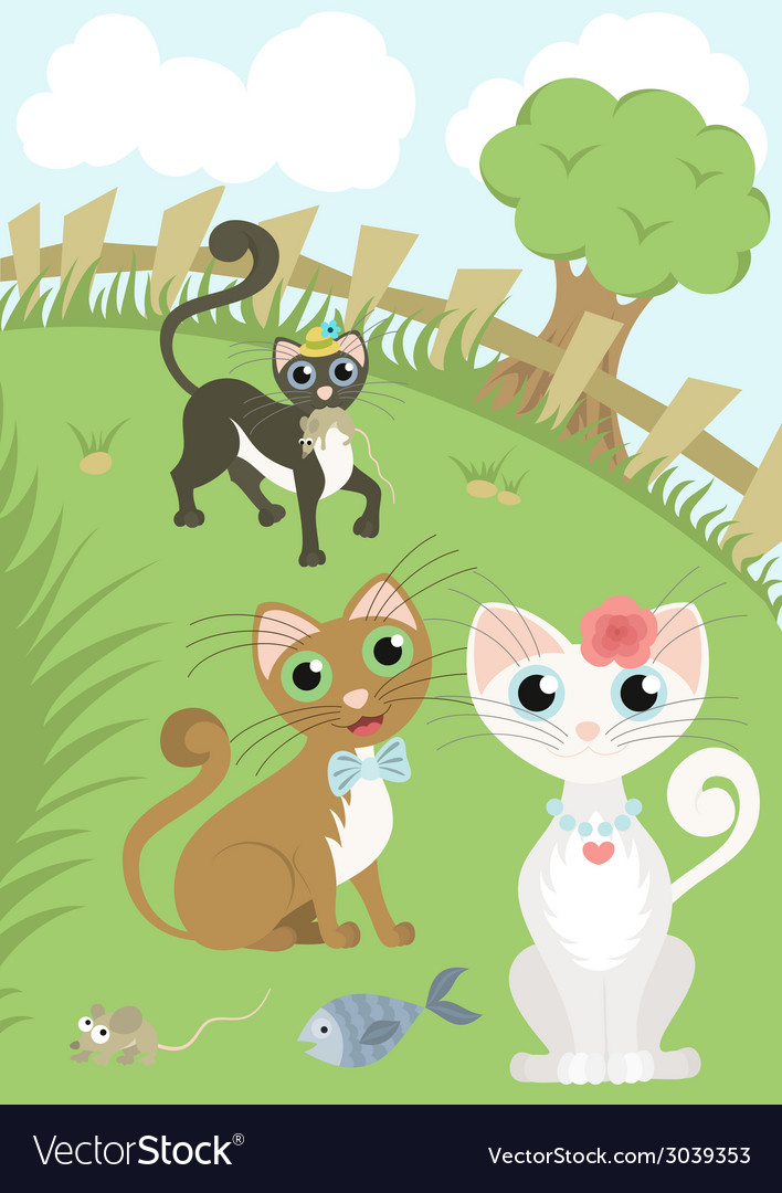 Beautiful cat and her admirers vector | Price: 1 Credit (USD $1)