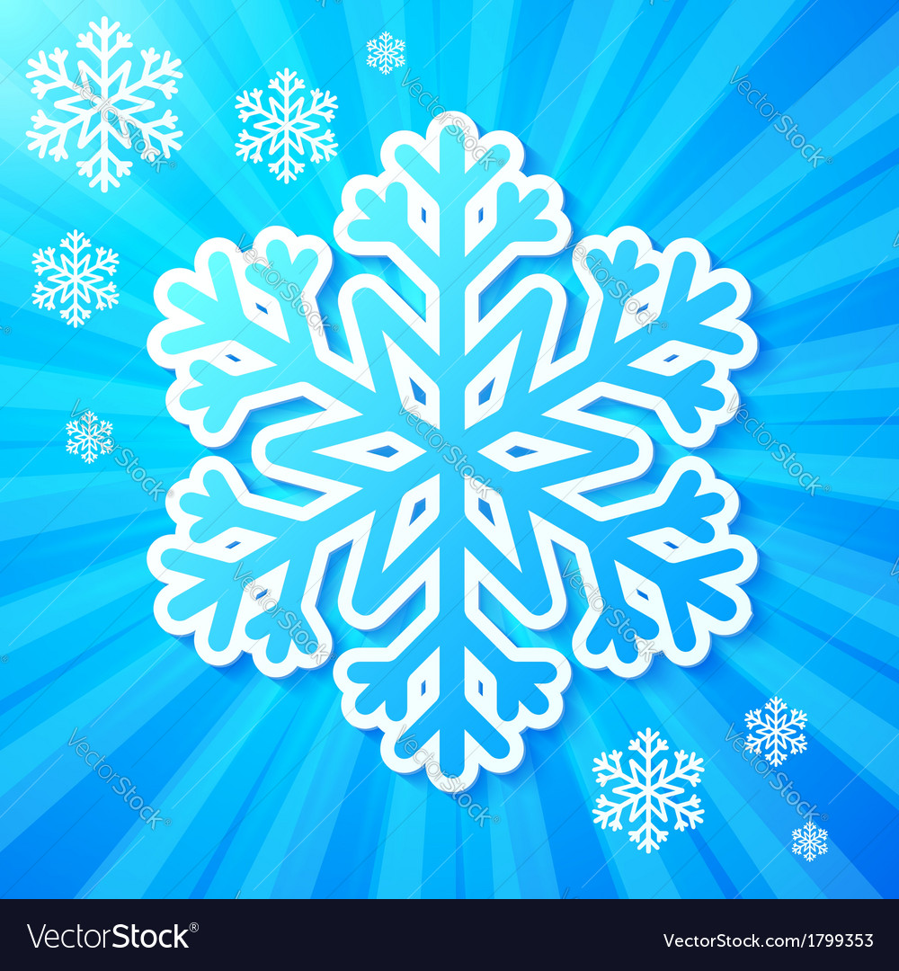 Blue paper snowflake on striped background vector | Price: 1 Credit (USD $1)