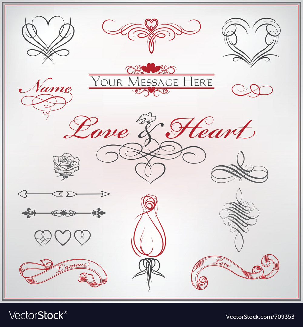 Calligraphy set love and heart vector | Price: 1 Credit (USD $1)