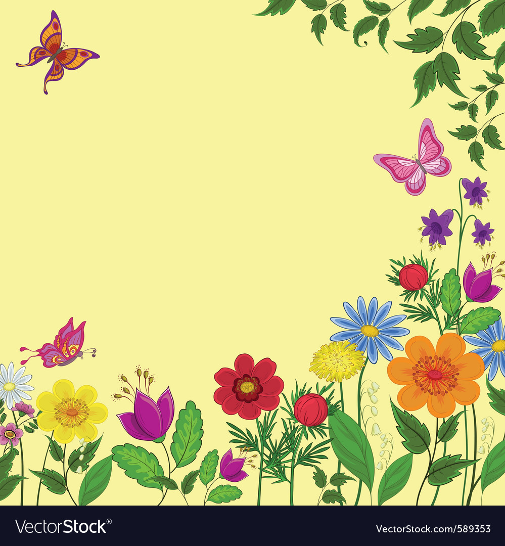 Flowers butterflies and leaves vector | Price: 1 Credit (USD $1)