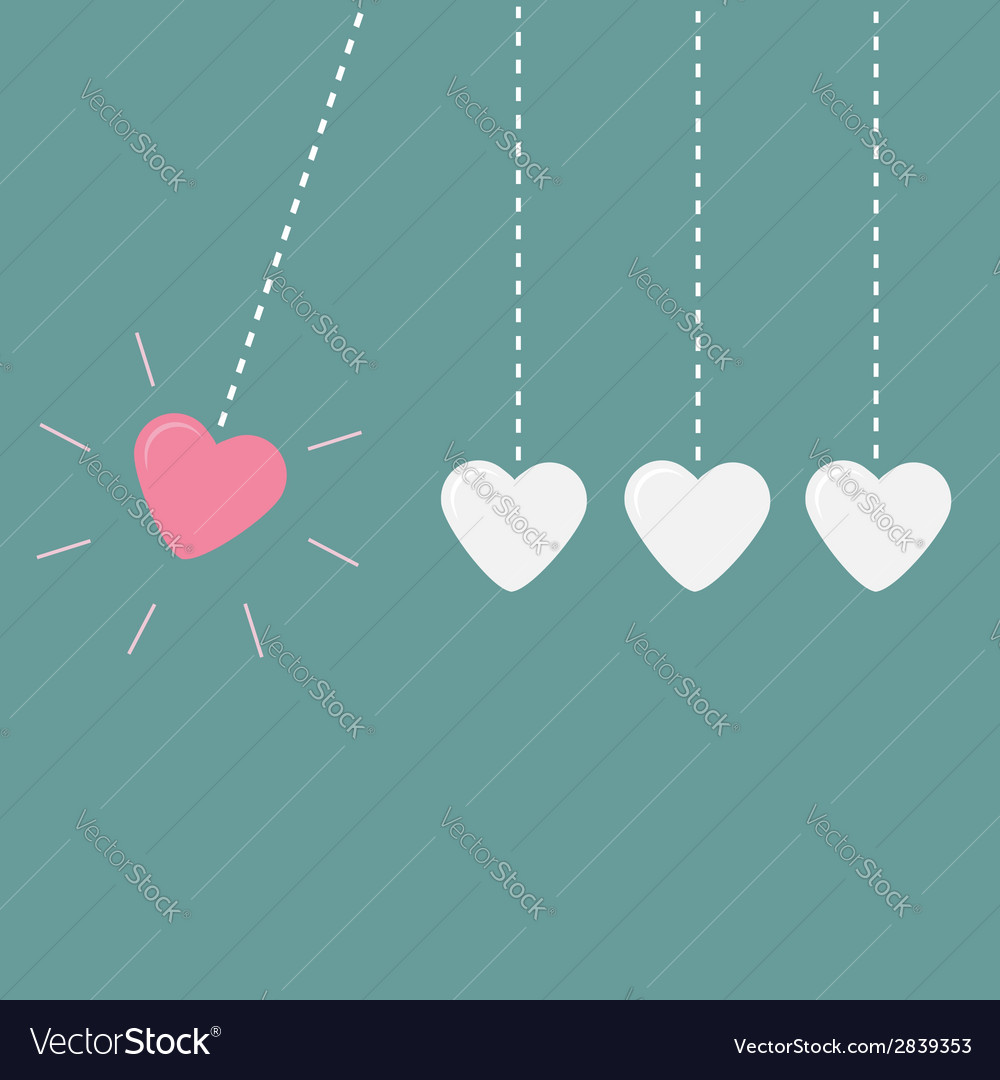 Four hanging hearts dash line perpetual motion lov vector | Price: 1 Credit (USD $1)